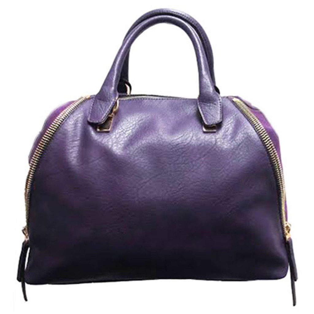 Sondra Roberts's Nappa Leather and Suede Satchel In Purple