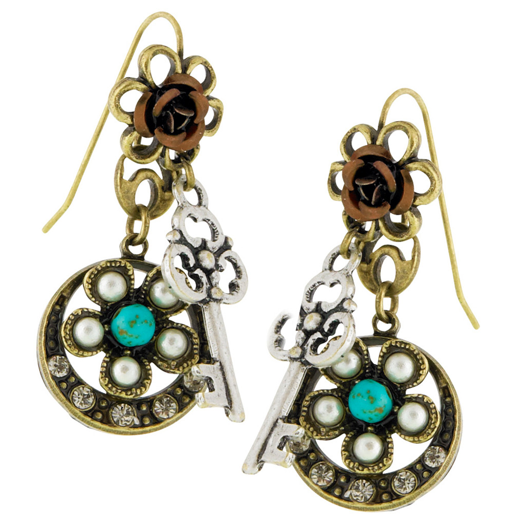 Antiqued Flower and Key Earring
