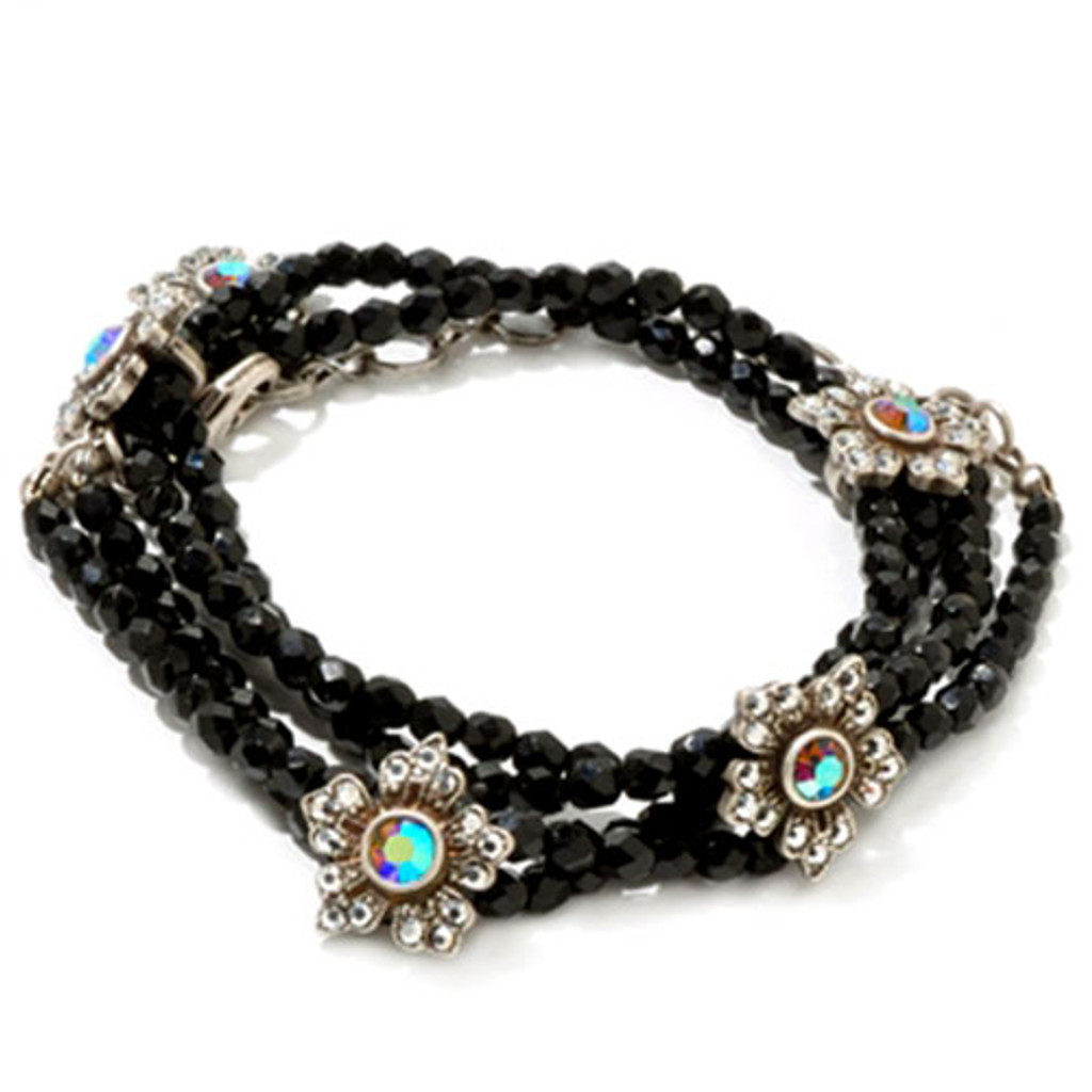 Starlight Flower and Jet Crystal Wrap Bracelet