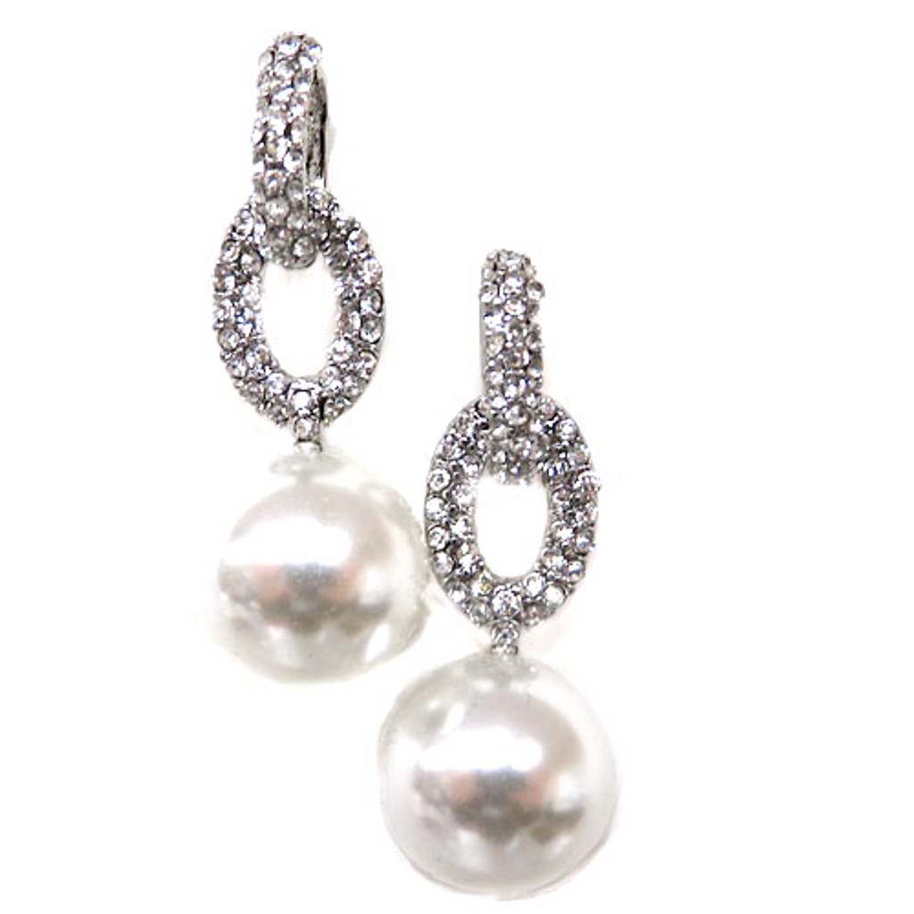 Elegant Pearl and Crystal Doorknocker Earring 1