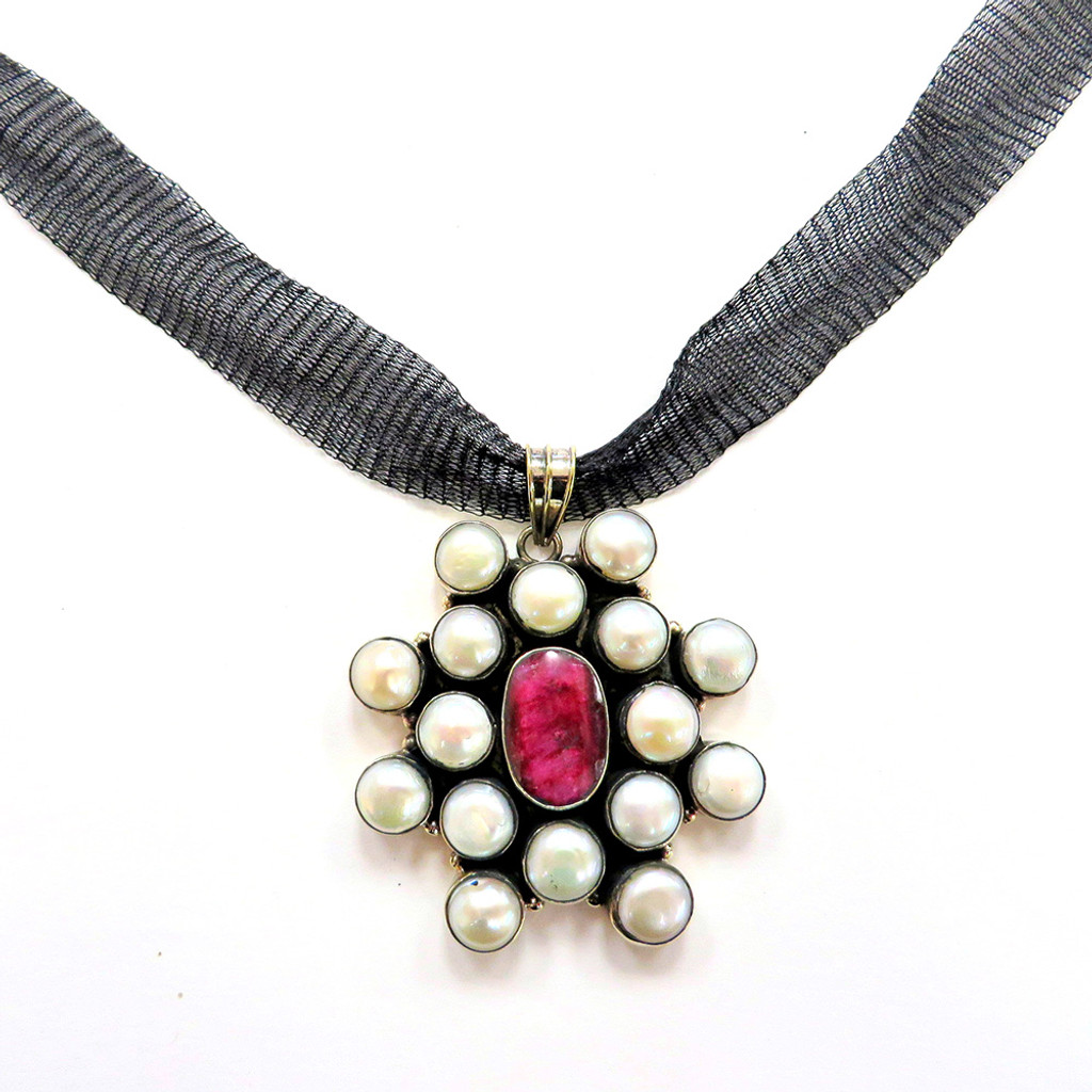 Pink Fire Agate and Pearl Star Fire Necklace
