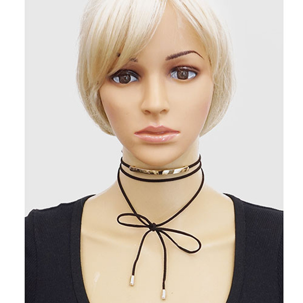 Black Suede Wrap Choker with Gold Bar