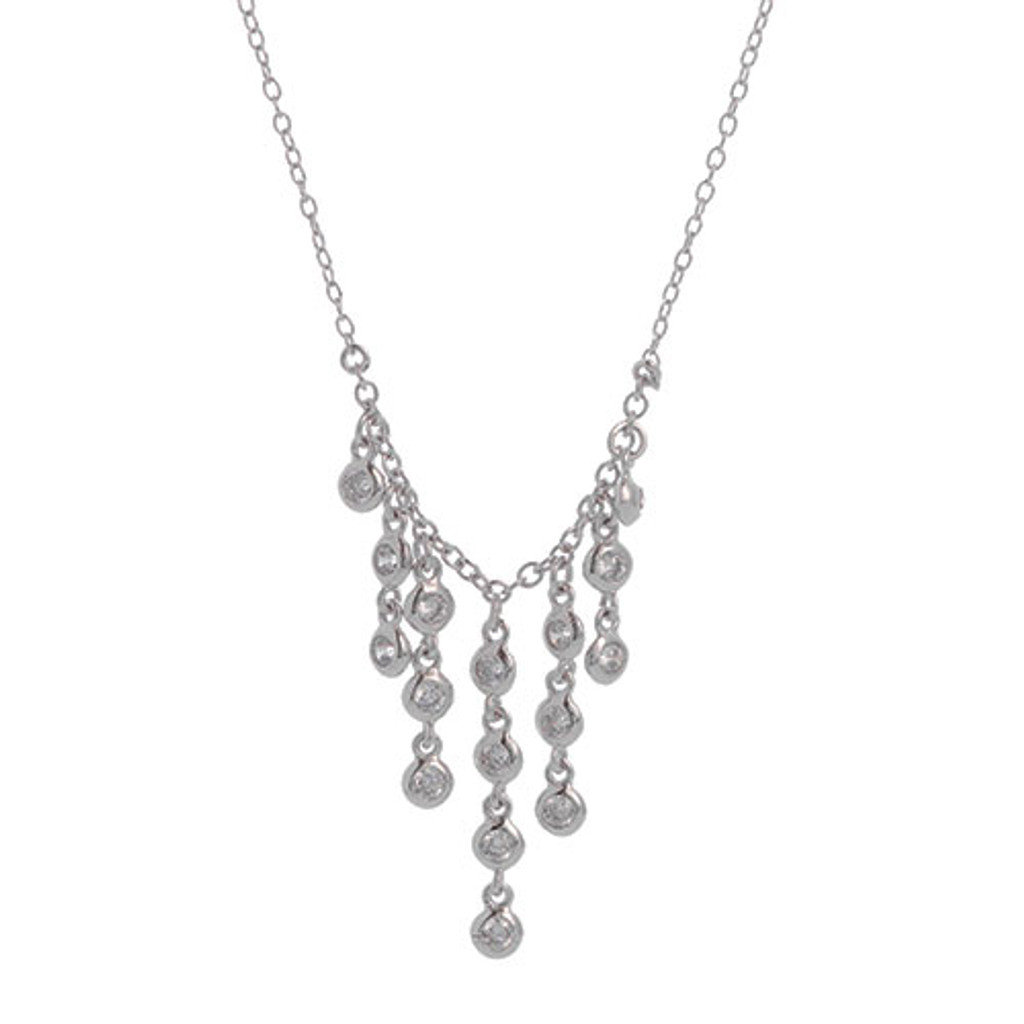 Sterling Silver CZ Waterfall Fringe Necklace