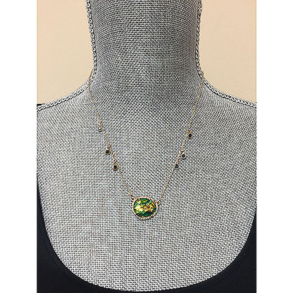 Green Opal Resin Oval Necklace