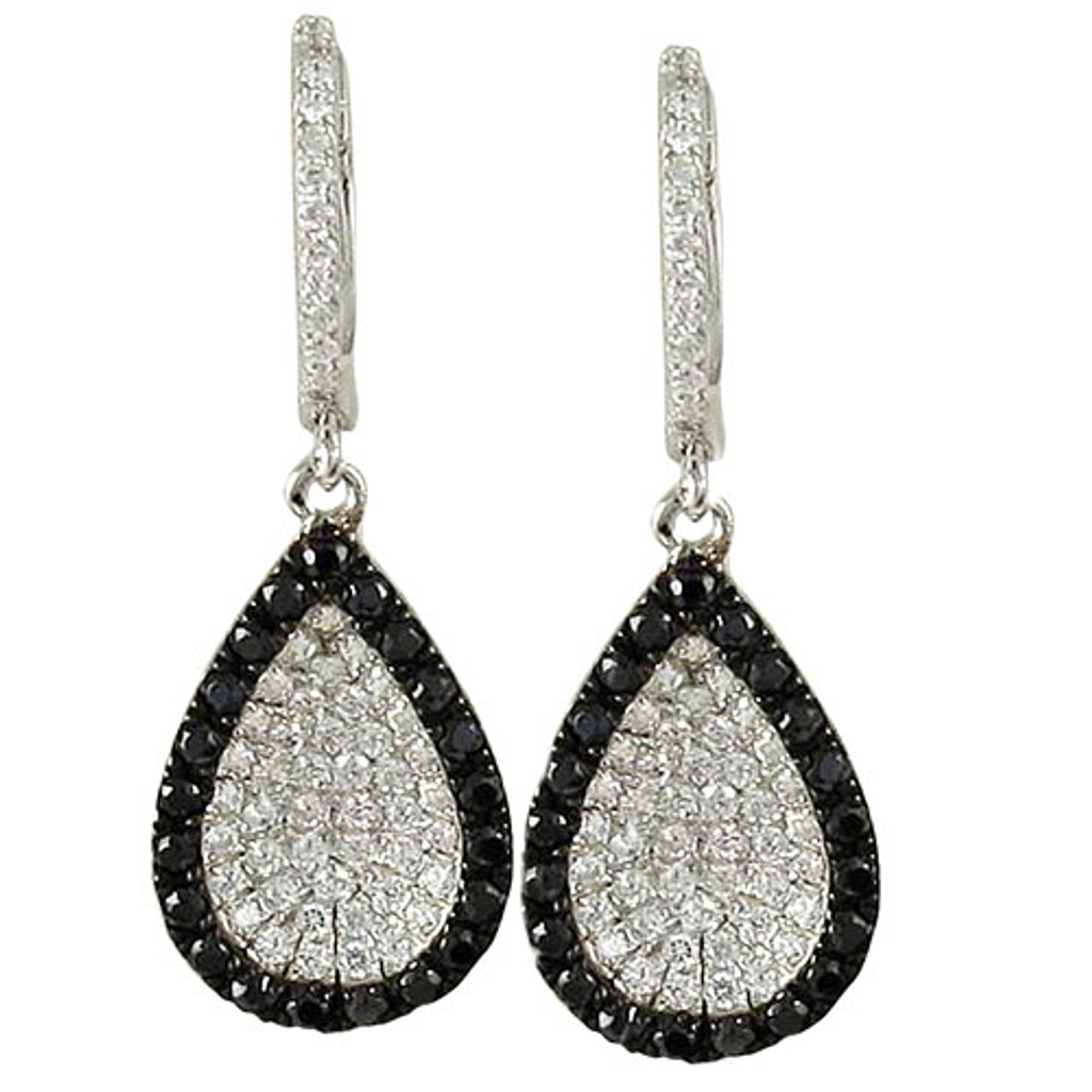C.Z. Black and White Concave Teardrops