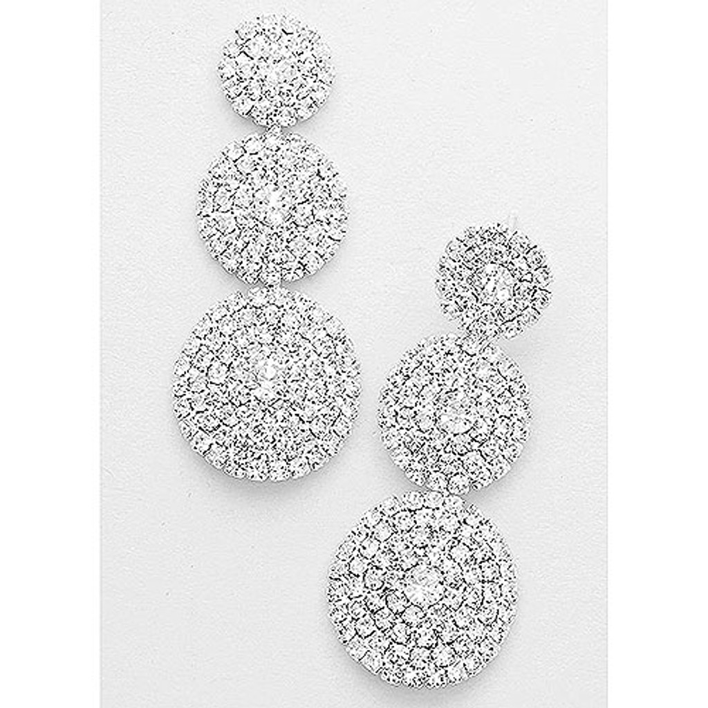 Triple Pave Crystal Disks Earring