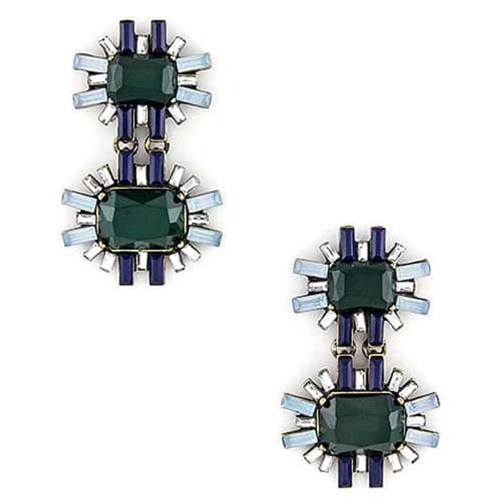 Hunter Green and Navy Deco Earring