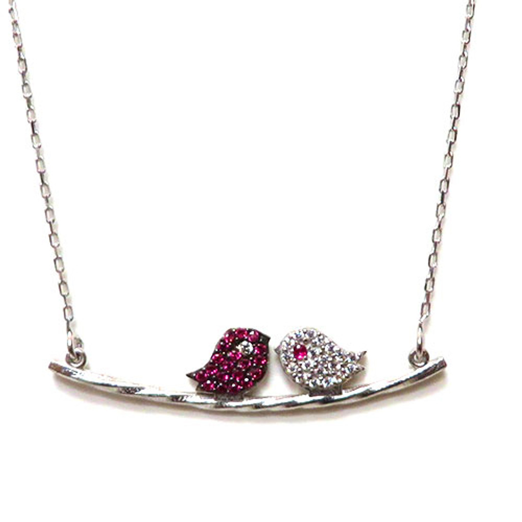 Ruby and Clear Love Bird Necklace