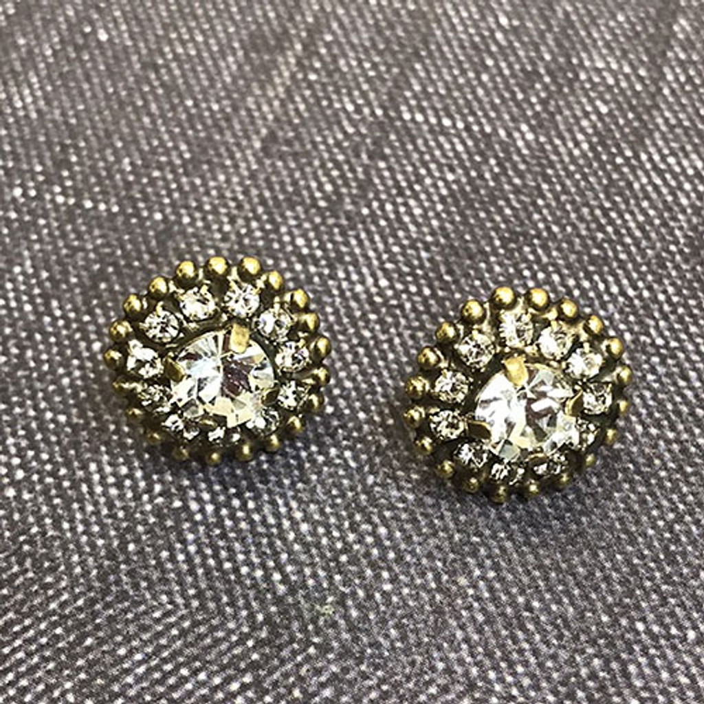 Round Crystal Accent Post Earring