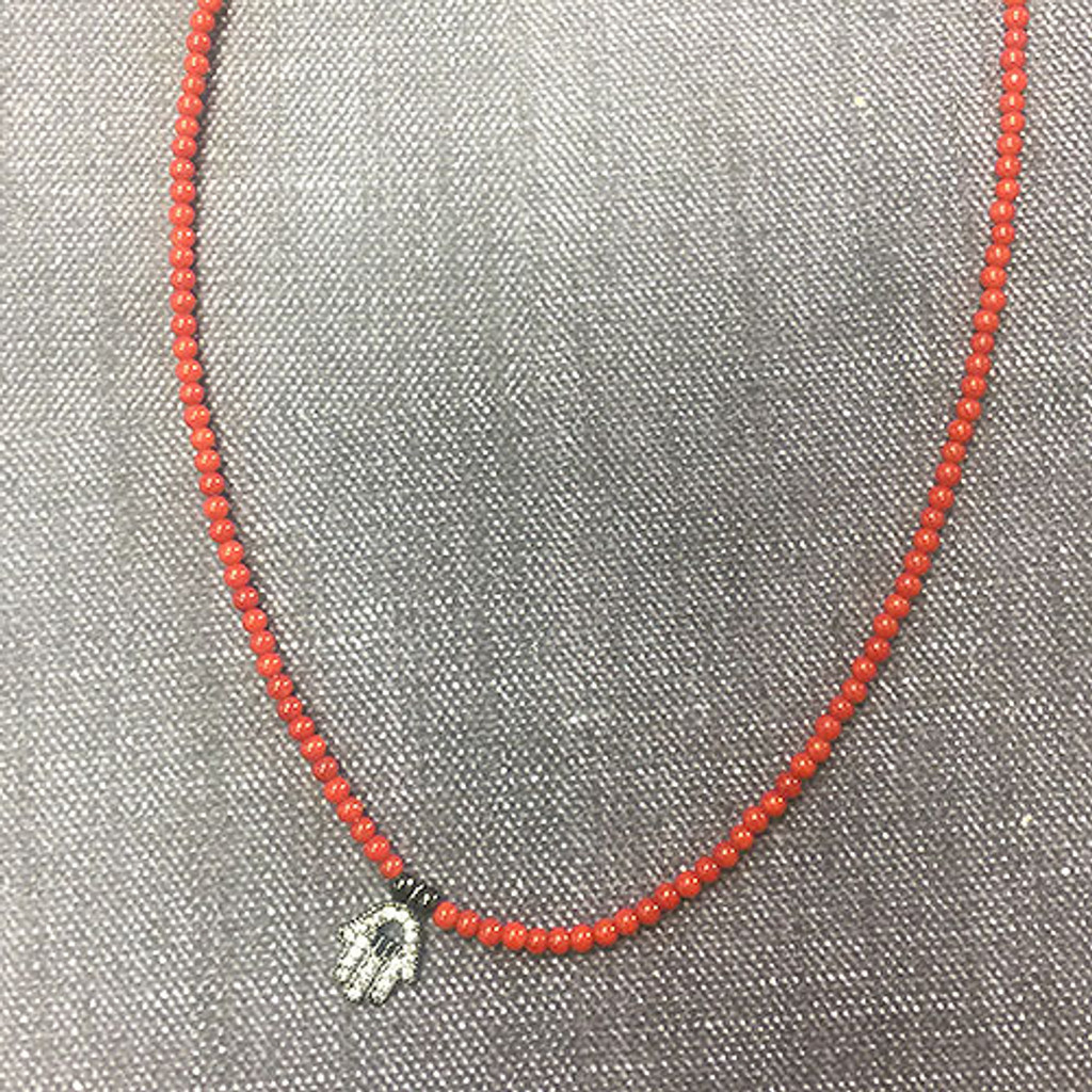 Genuine Carnelian Beaded Choker with a Black Crystal Hamsa