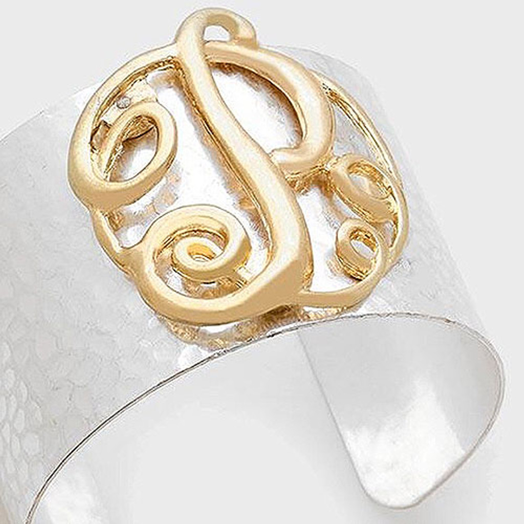Hammered Texture Initial Monogram Two-Tone Cuff
