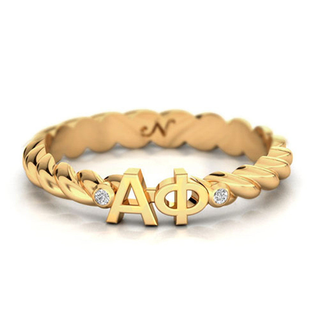 Alpha Phi Gold Pavé Twist Letter Ring