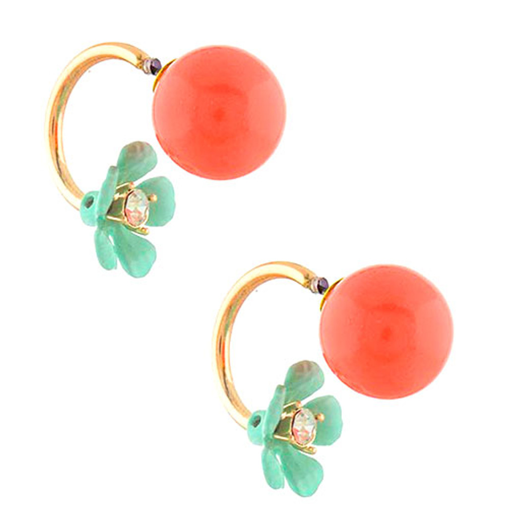 Bubble Button with Peek-a-Boo Flower Earring Coral