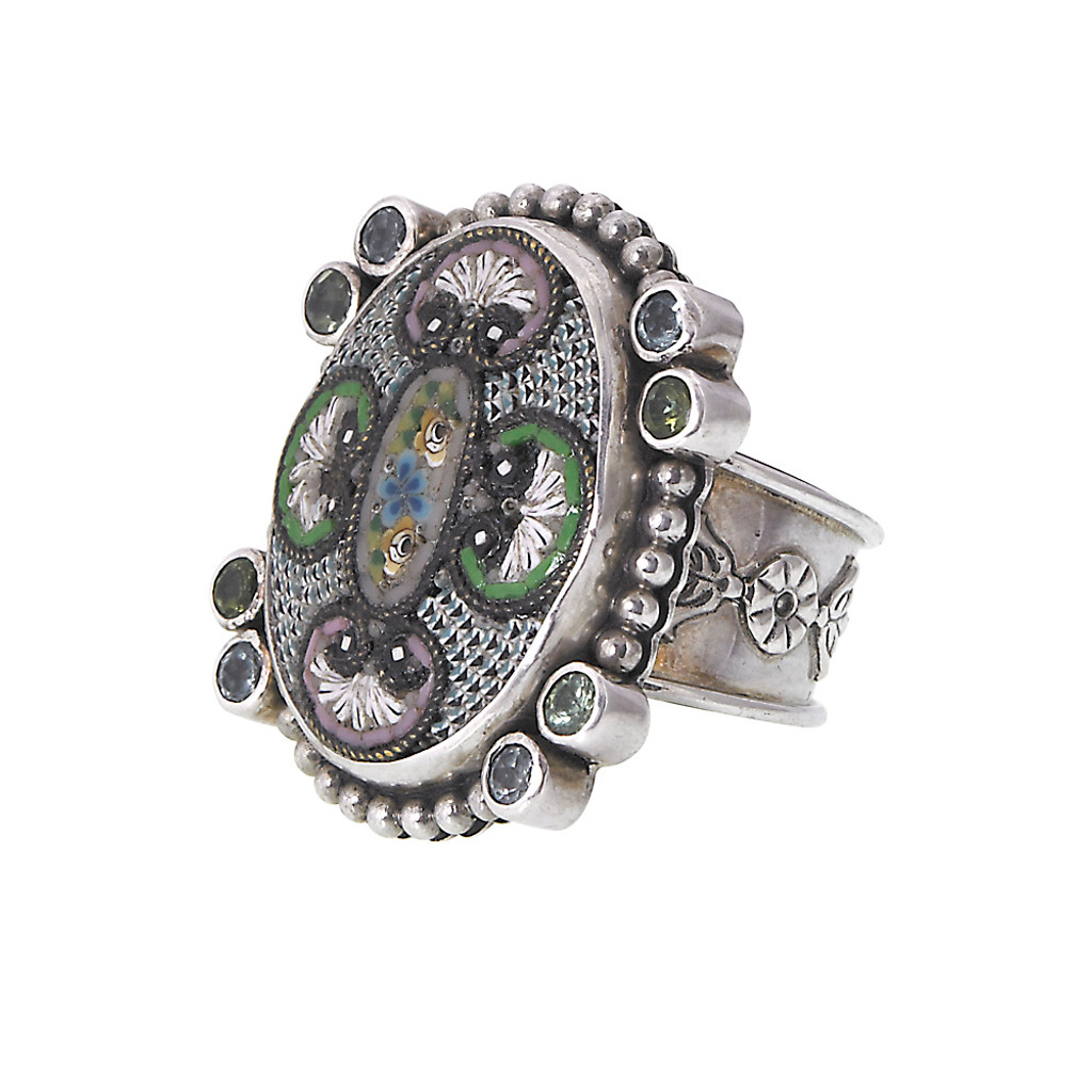 Mars and Valentine's One-Of-A-Kind Vintage Micro Mosaic Oval Ring