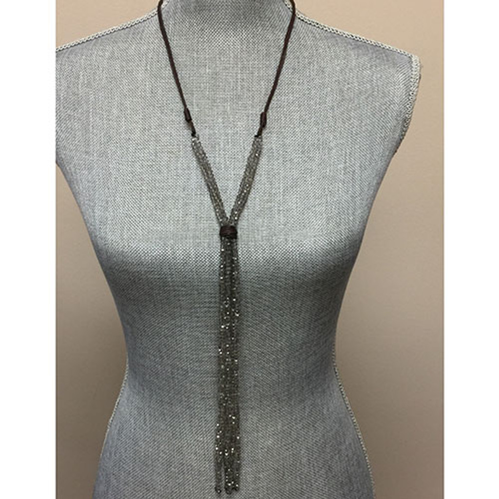 "Leather and Gray Crystal ""Y"" Necklace"