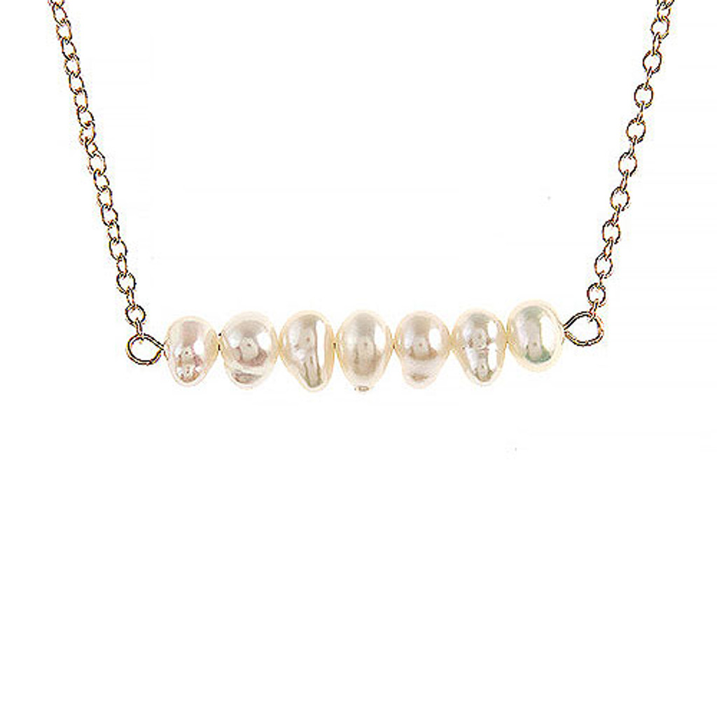 Fresh Water Pearl Beaded Bar Necklace