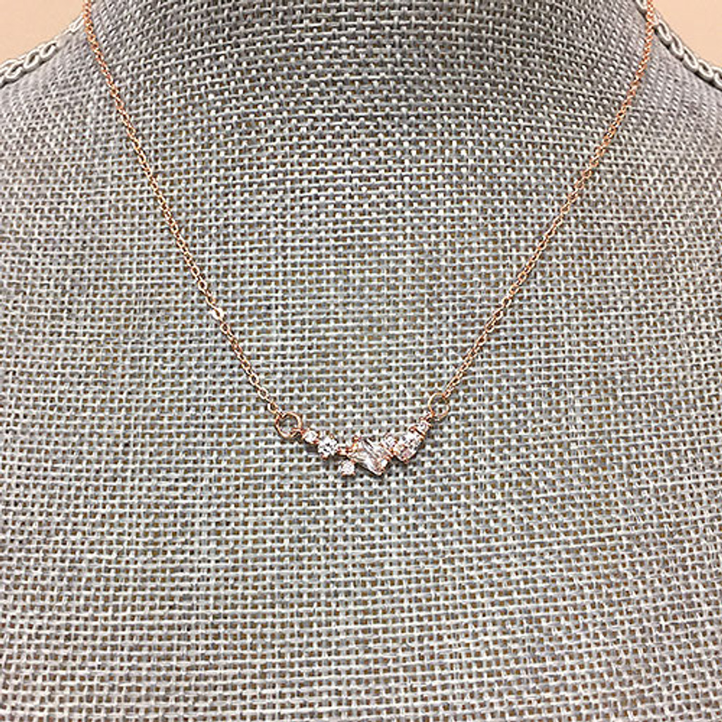 Variety of Shapes CZ Necklace in Rose Gold