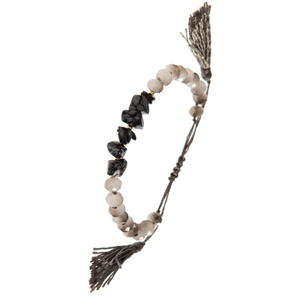 Gray Crystals and Double Tassel Bracelet