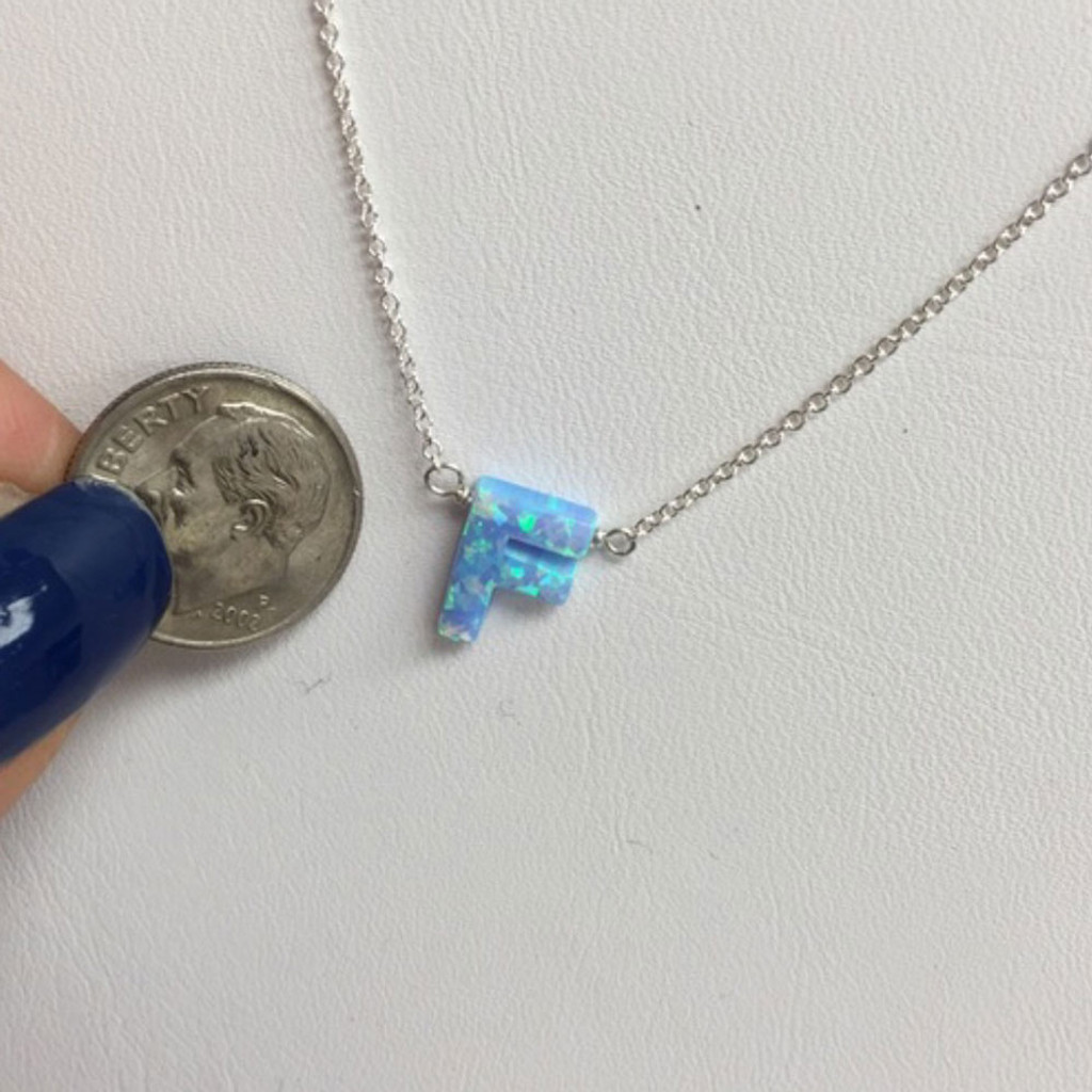 Blue Opal Initial Letter Necklaces