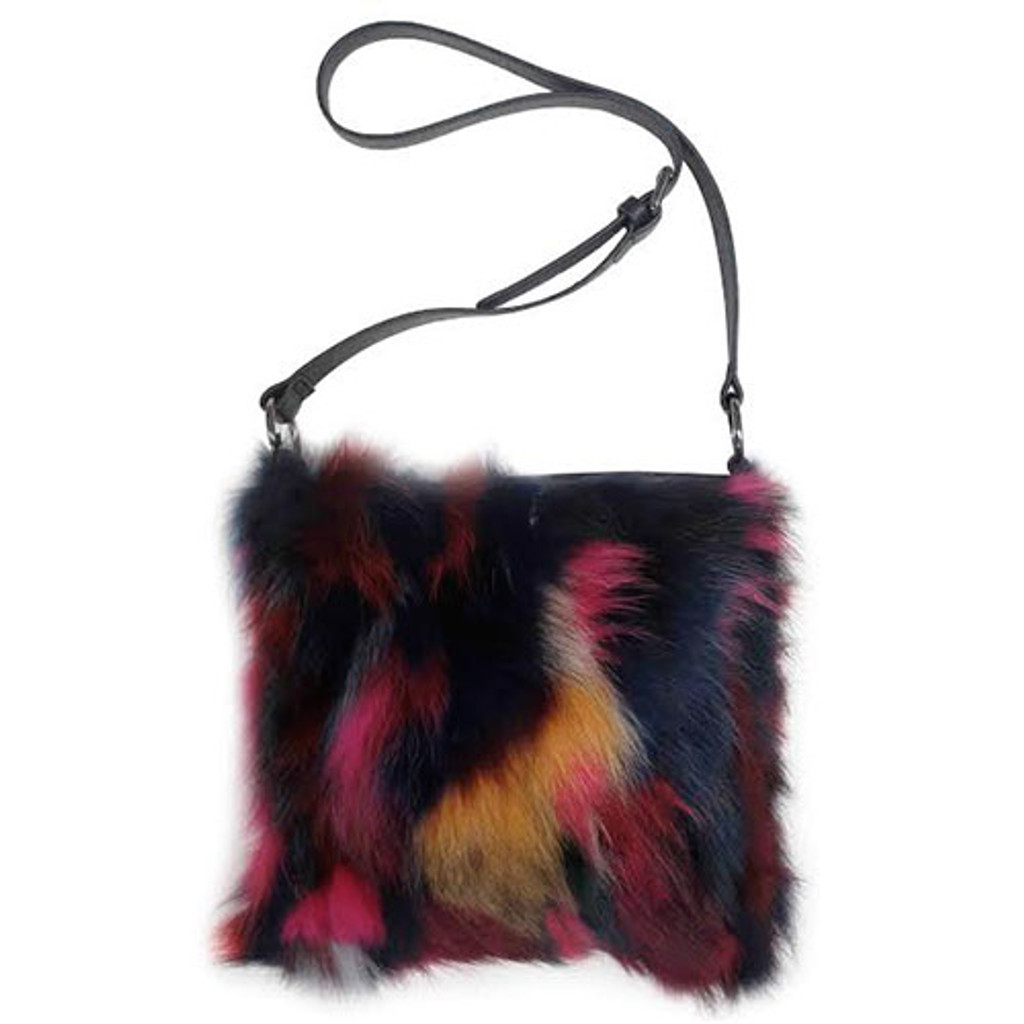 Sondra Roberts Multi Colored Fur and Leather Cross Body