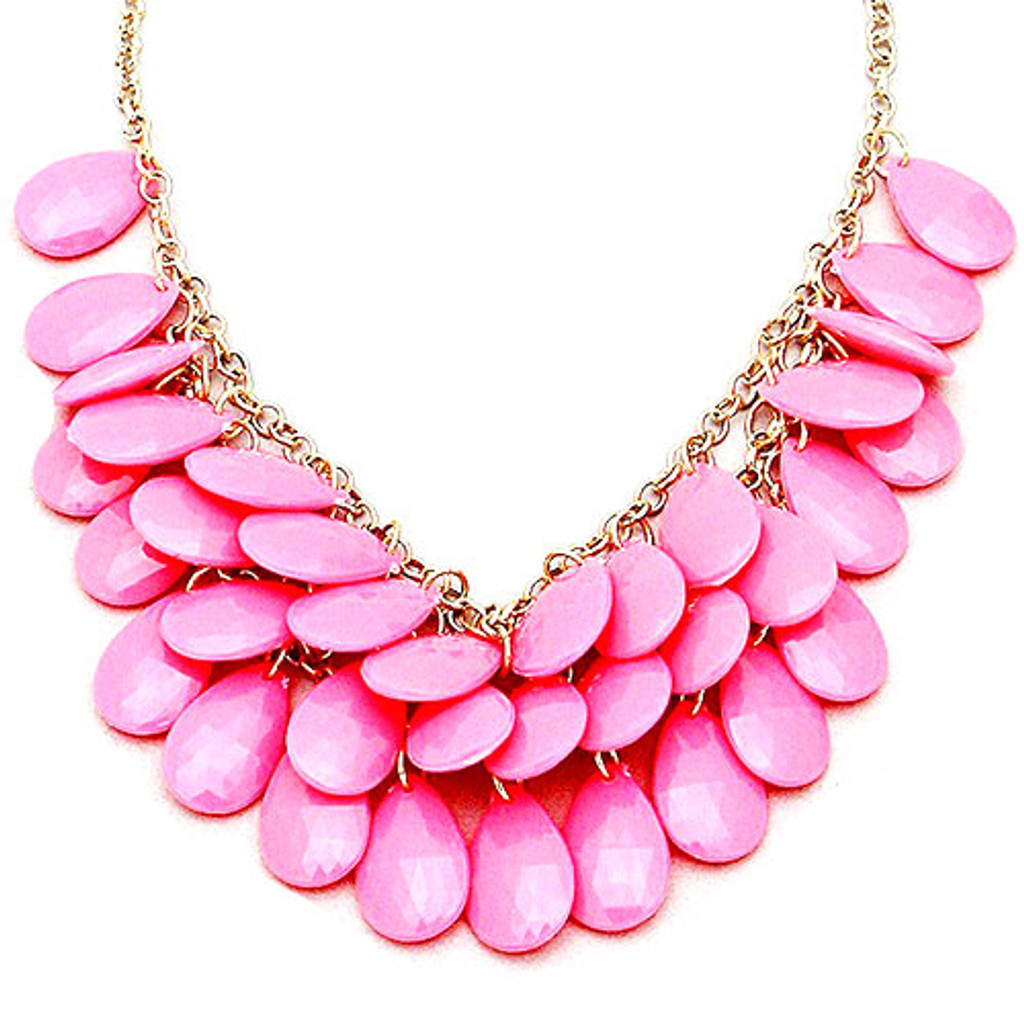 Layers of Pink Pansy Petals Necklace