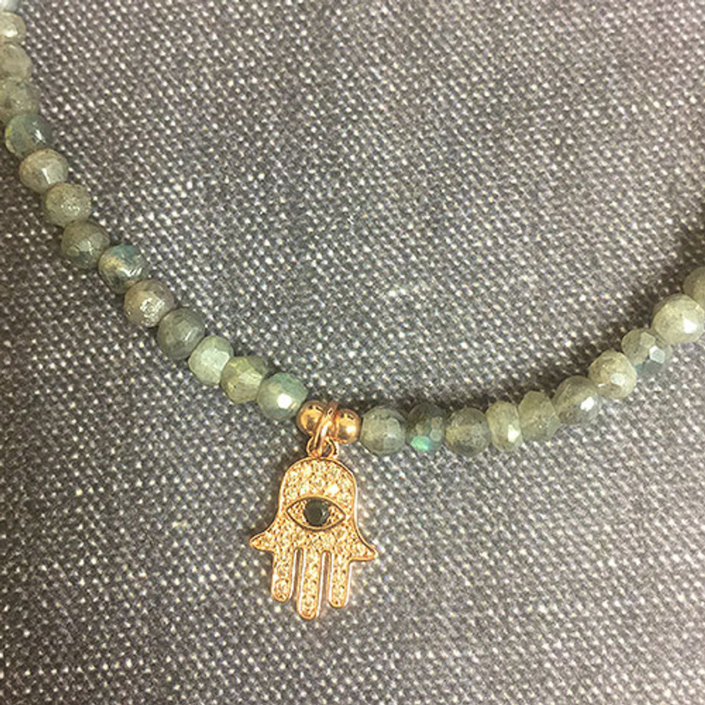Genuine Labradorite Choker with a Rose Gold Hamsa