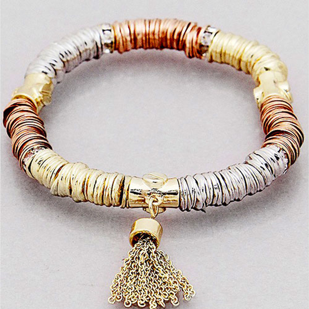 Tri-Colored Metal Links with Tassel