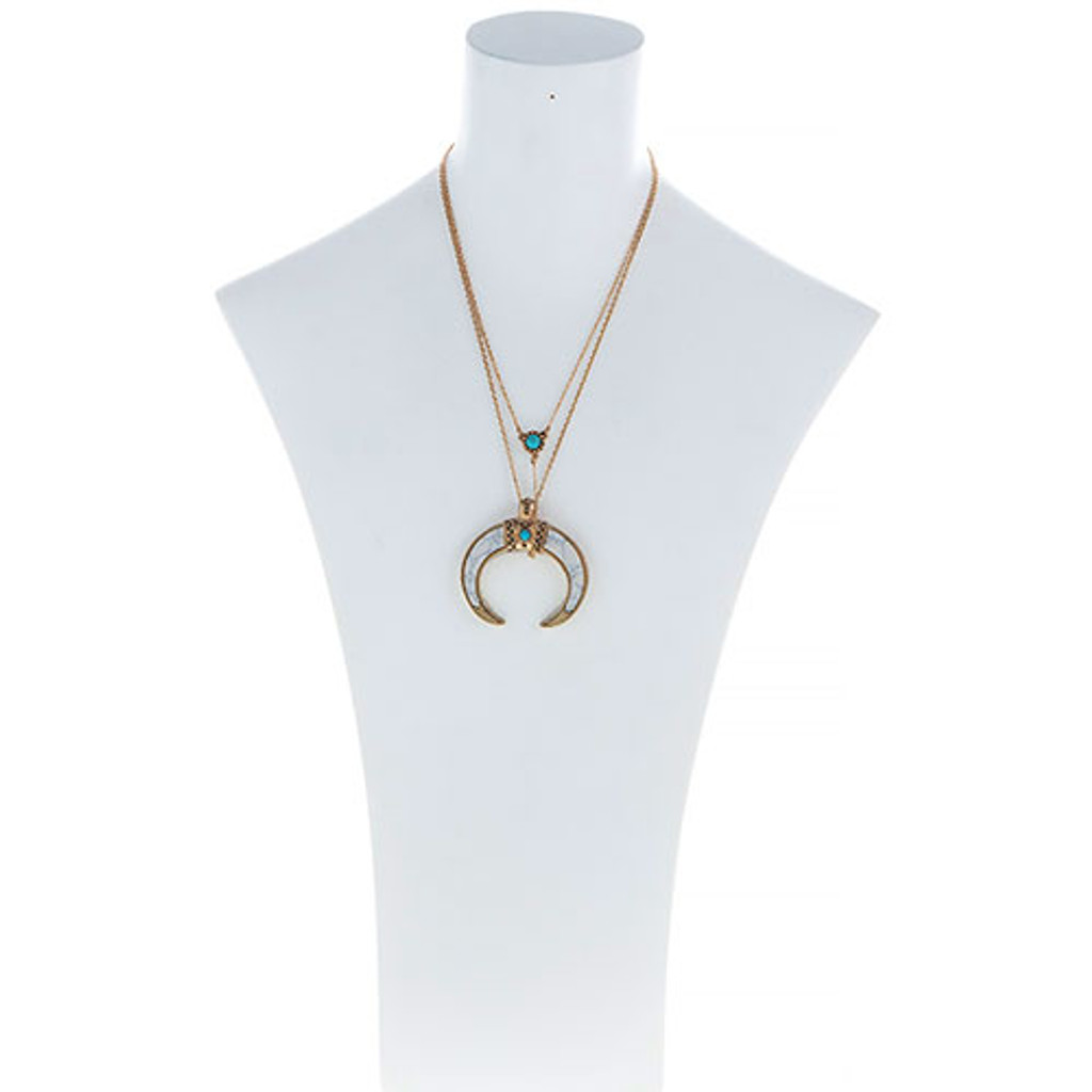 Layered White Howlite Crescent Necklace