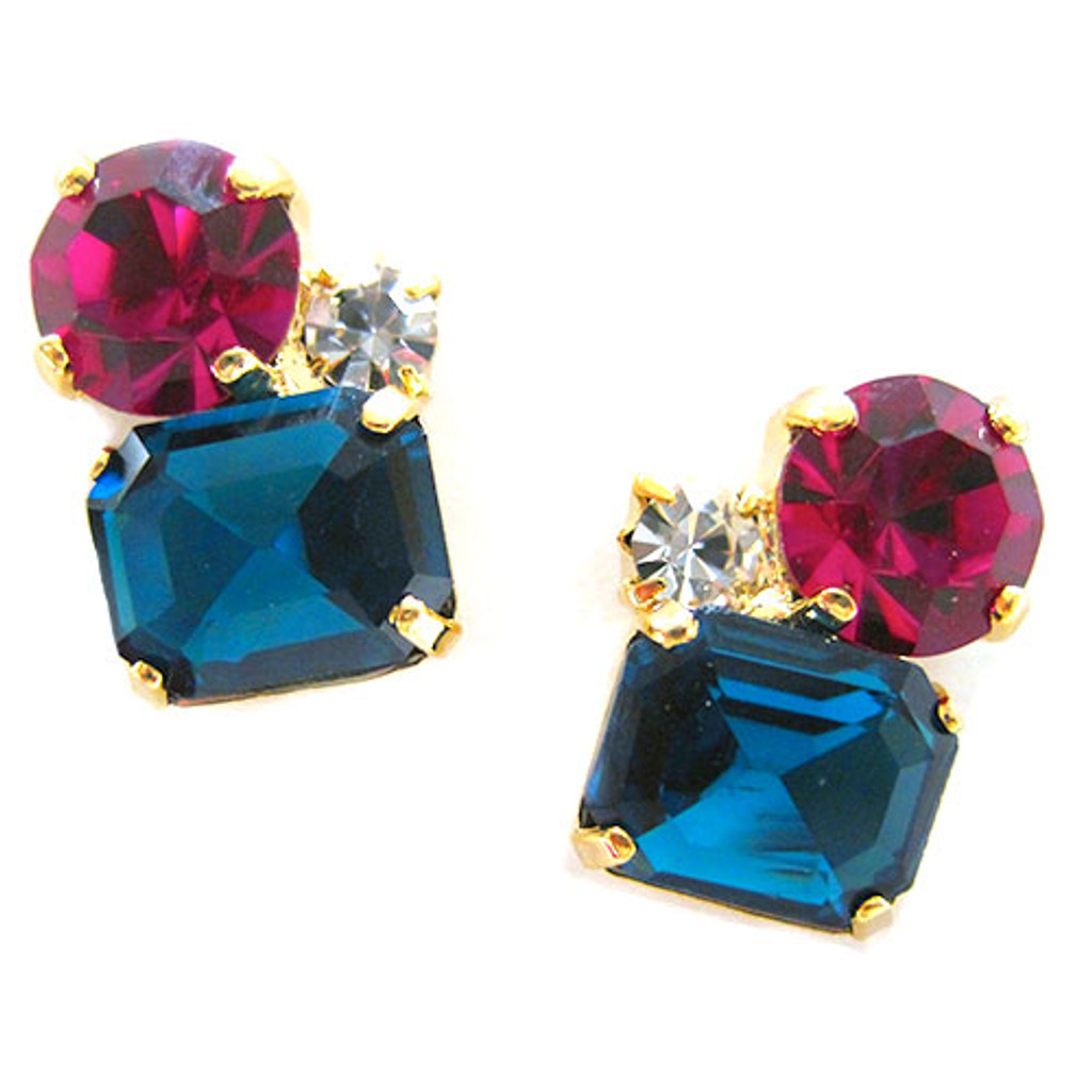 Fuchsia and Zircon Trio Crystal Stud