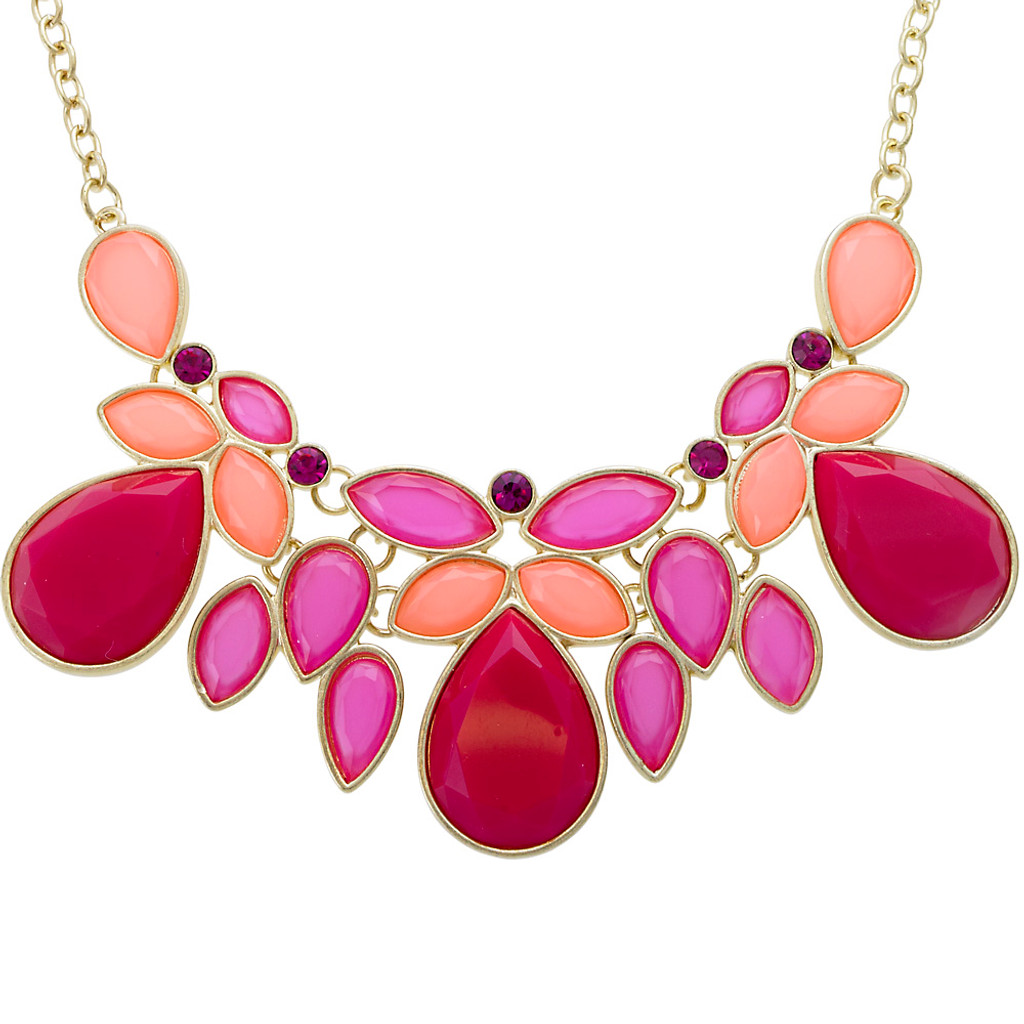 Coral and Fuchsia Lotus Leaf Necklace
