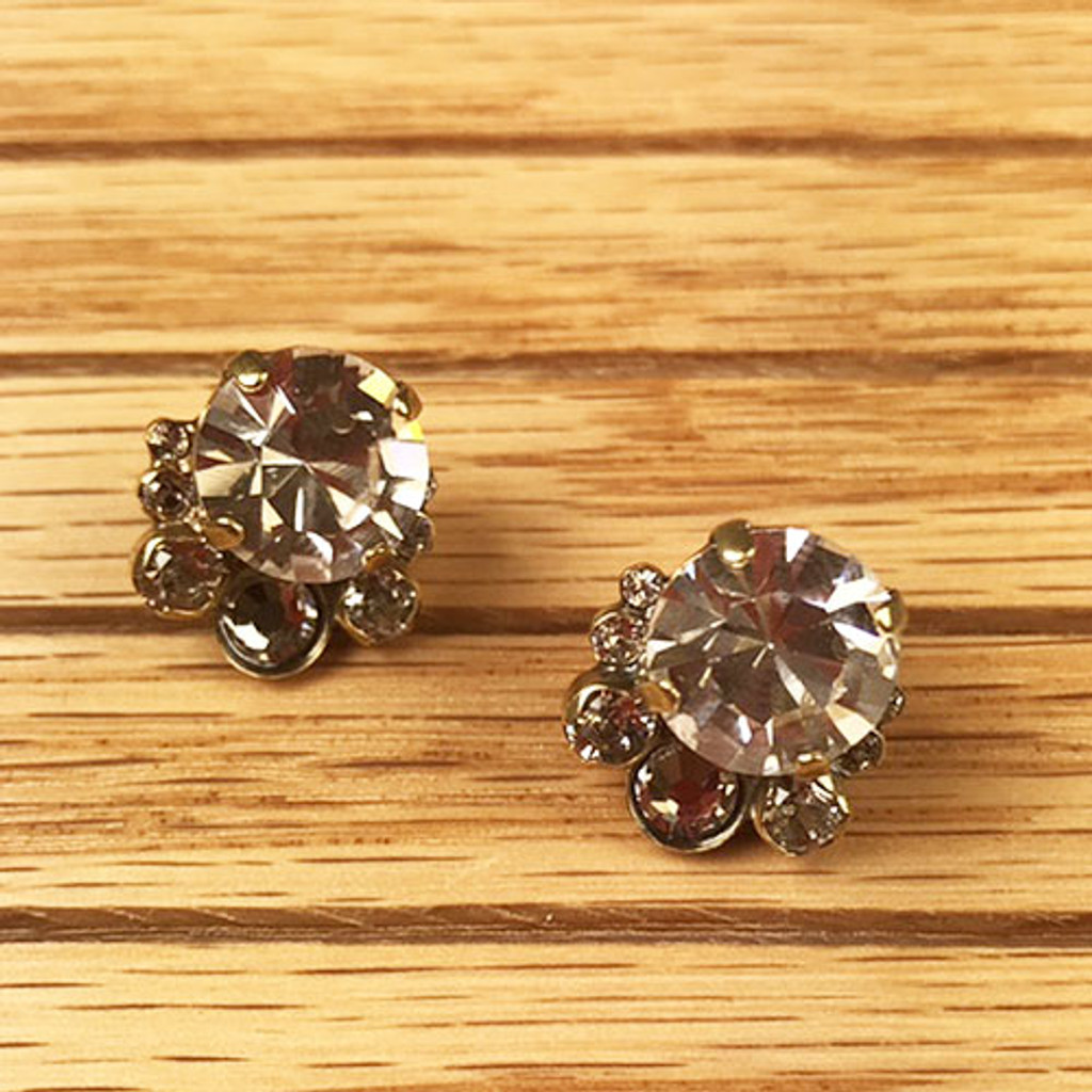 Crystal Cluster Post Earring in Antique Gold