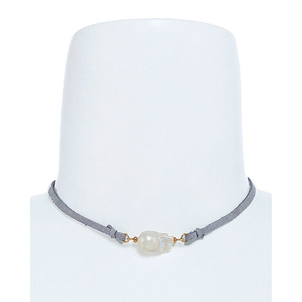 Fresh Water Large Pearl Choker Gray