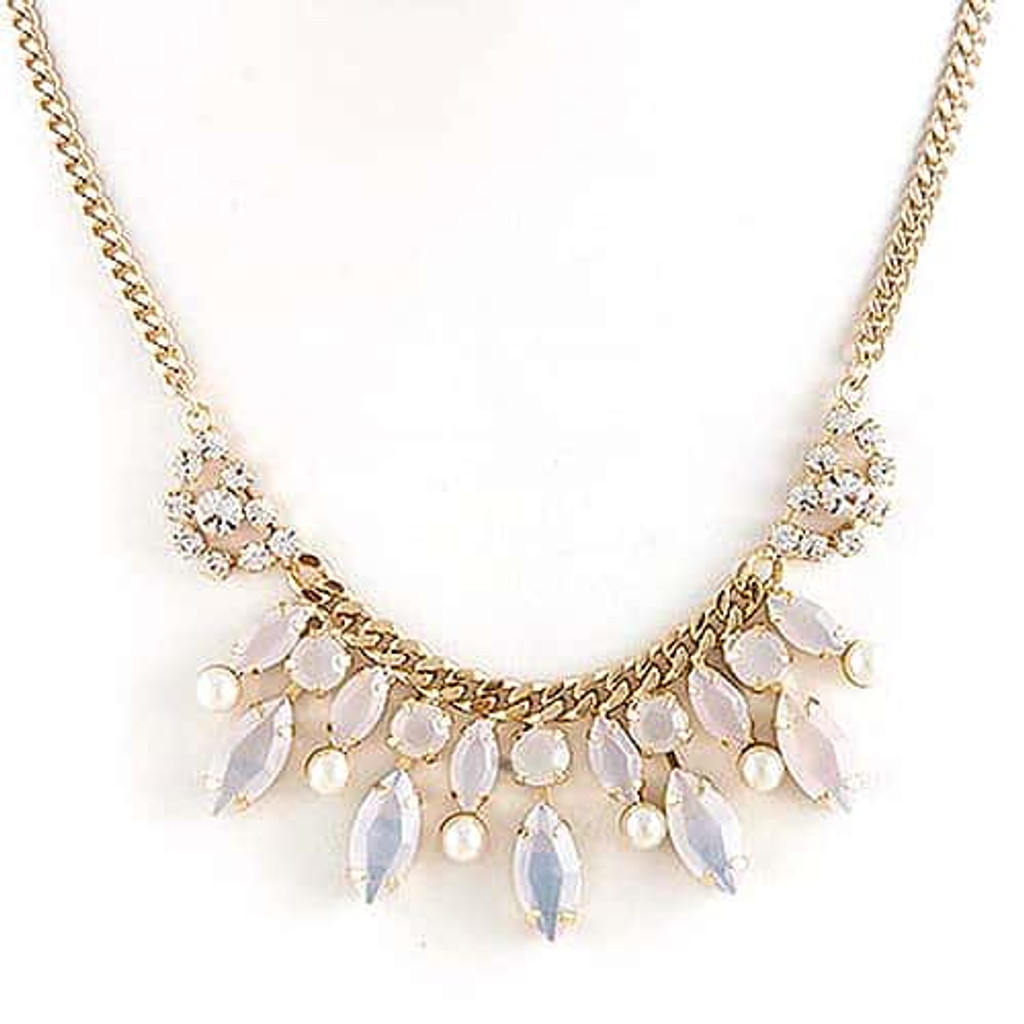 White on White Delicate Statement Necklace