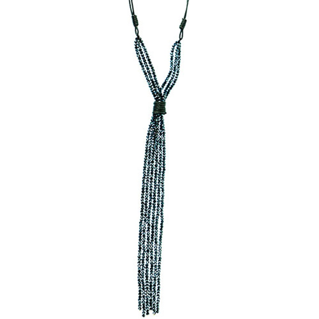 """Black Leather and Gun Metal Crystal """"Y"""" Necklace"""