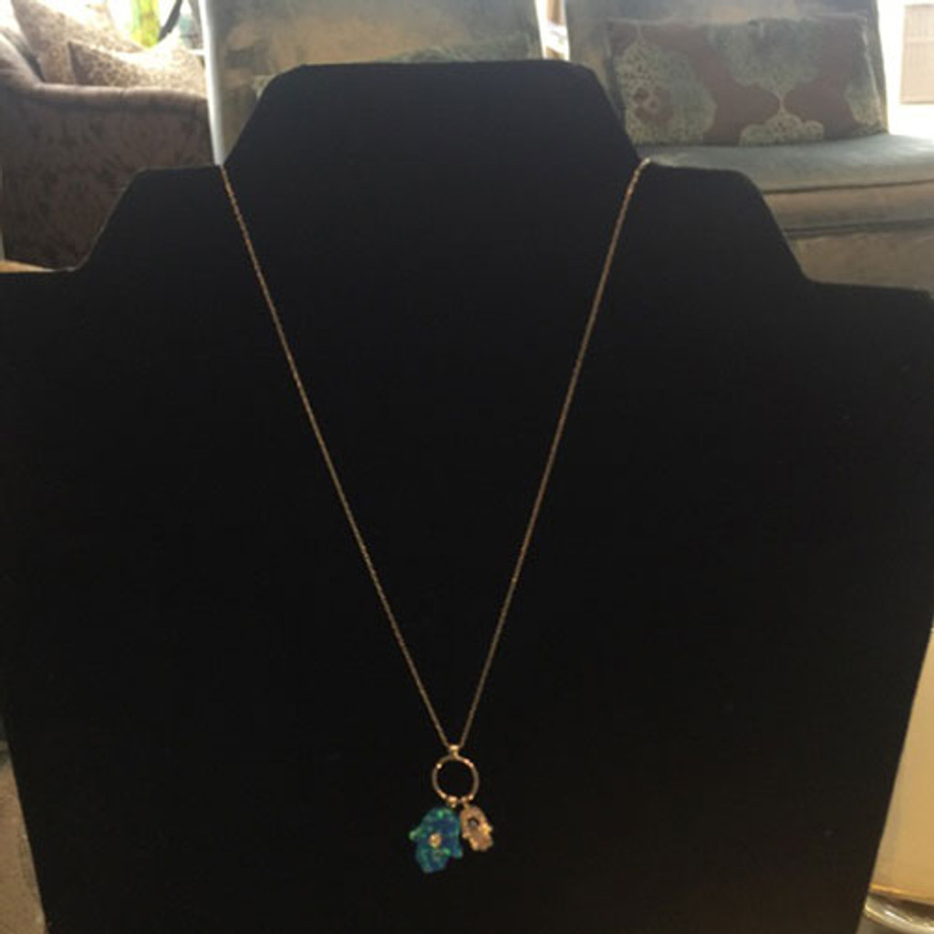 Sterling Silver, CZ, and Blue Opal Hamsa Duo Necklace