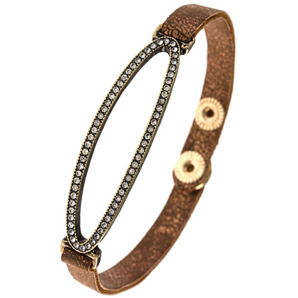 Faux Bronze Leather With Crystalized Open Oval Bracelet