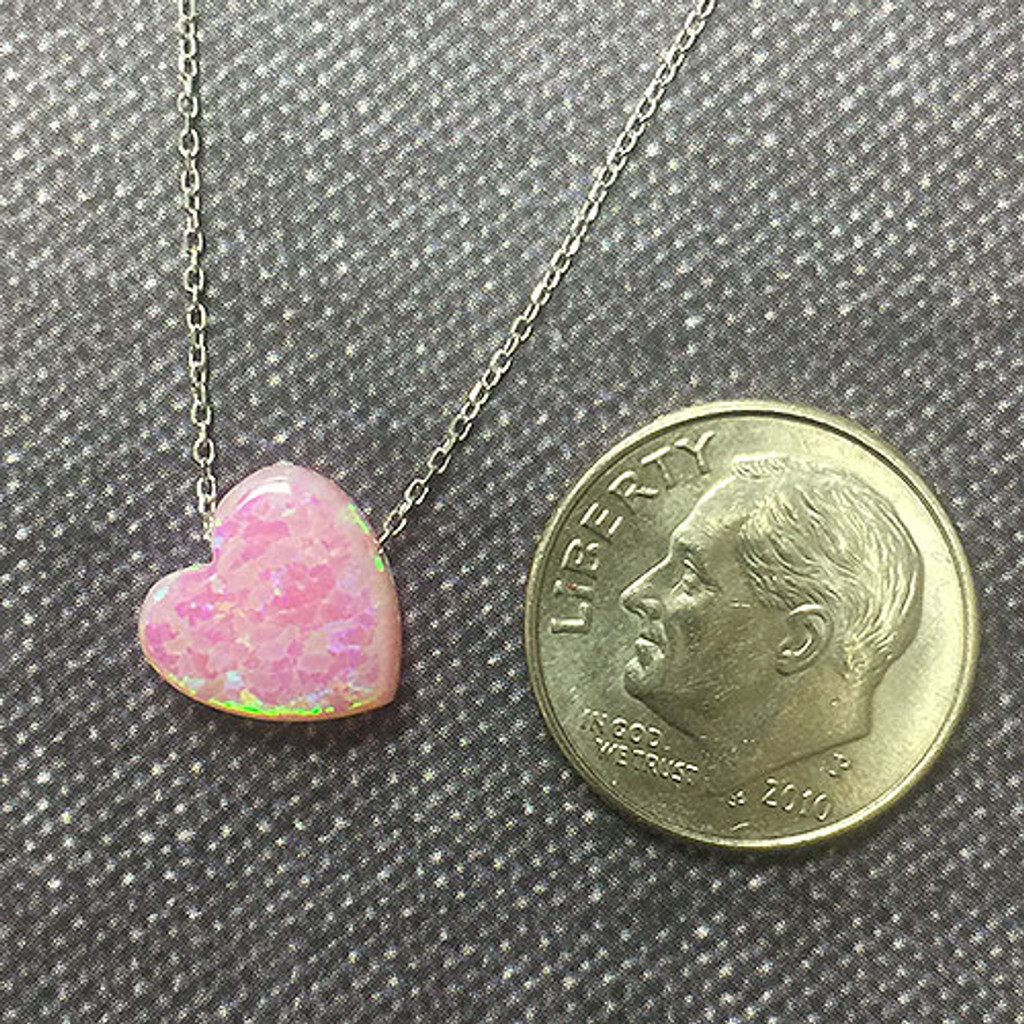Light Pink Opal Heart on Sterling Chain