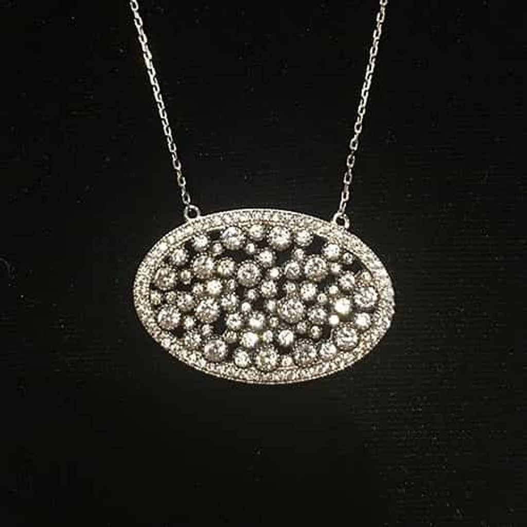 Unique Oval CZ Cluster Necklace