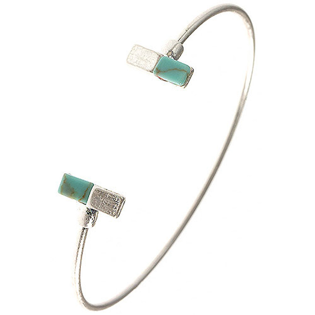 Minimalist Natural Turquoise Bar Open Slim Cuff
