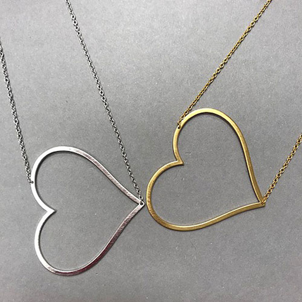 Large Sideways Heart Necklace