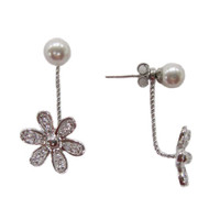 Sterling and Pearl Peek-A-Boo Flower Earring