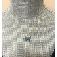 Dusty Blue Pave Crystal Butterfly Necklace