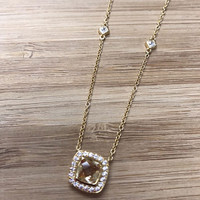 Lafonn's Square Citrine Halo Necklace
