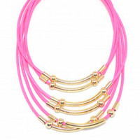 Hot Pink waxed Cords and Gold Bars necklace