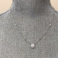 Simulated Diamond Round Stud with Pave Border Necklace