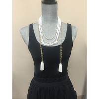 Triple Beaded Strands with Leather Tassels 1