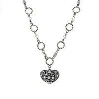 Vintage Crystal Encrusted 2-Sided Heart Necklace
