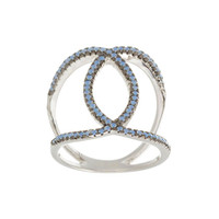 Blue Opal Overlapping Circles Ring