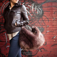 Sondra Roberts Faux Fur and Python Hobo 1