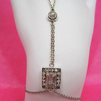 Azaara's Antiqued Rhodium Crystal Harness Bracelet